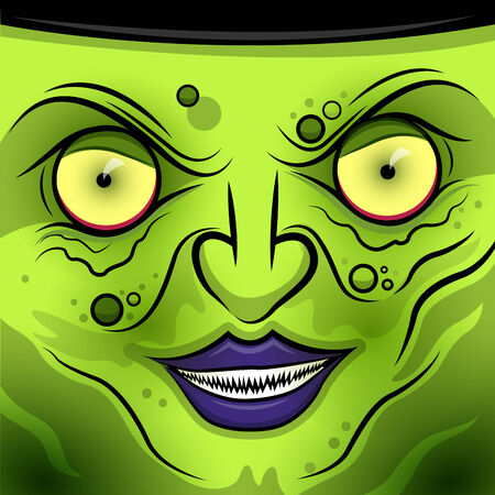 witch face: A square Wicked Witch Face illustration