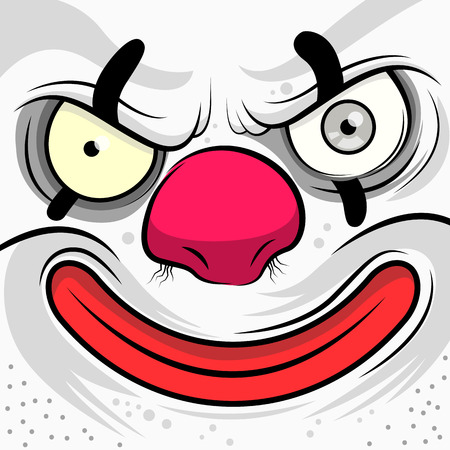 Square Faced Evil Clown - illustration Vector