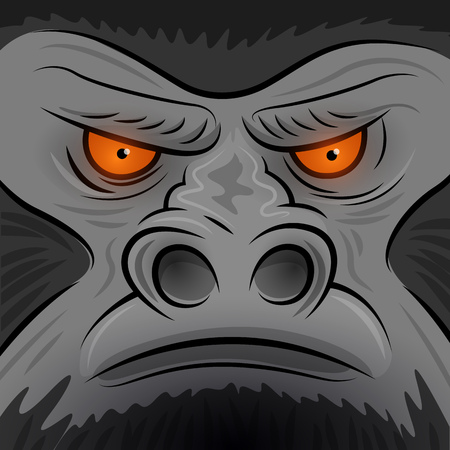 Square Faced Gorilla Ape - Vector illustration Vector