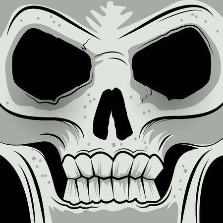 eye sockets: Squared Faced Angry Skull - Vector illustration