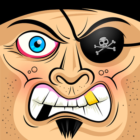sea robber: Square Faced Angry Pirate - illustration