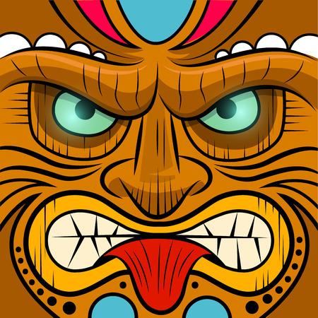 wooden mask: Square Faced Tiki Mask - illustration Illustration