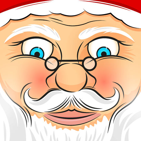 Square Faced Father Christmas - Vector illustration.