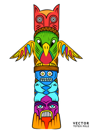 the totem pole: a Bright and colourful Totem Pole.