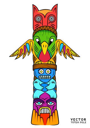 totem indien: un totem lumineux et coloré. Illustration