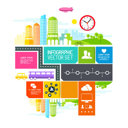 busy life: City Blocks  - illustration design elements. Illustration