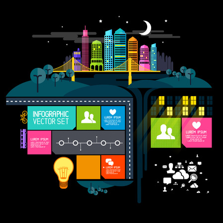 busy life: City at Night, vector illustration with infographic elements