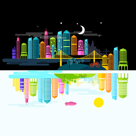 busy life: City by Day and Night - Illustration Illustration