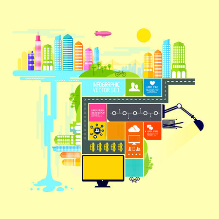 Town and City Illustration with infograph elements Vector