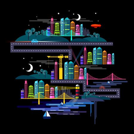 country life: Urban City at Night - illustration