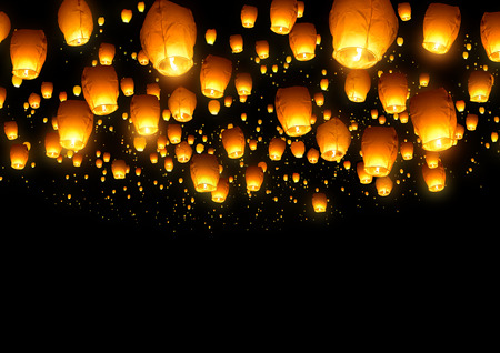 floating: A large collection of flying chinese lanterns. Stock Photo