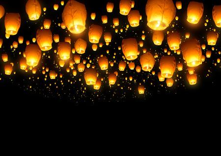 Een grote verzameling van vliegende lampionnen.