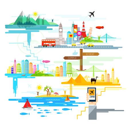 destinos: dise�o plano con los destinos tur�sticos y de viajes de todo el mundo.
