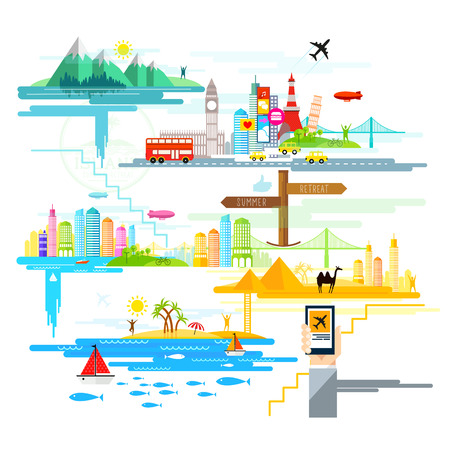 flat design with holiday and travel destinations across the world. Vector