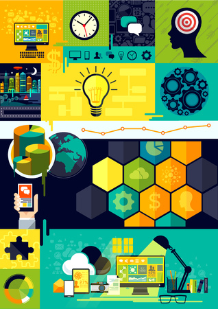 organise: Flat Design Infographic Symbols