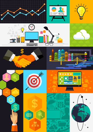Flat Design Infographic Symbols - layered illustration with business symbols and icons. Vector