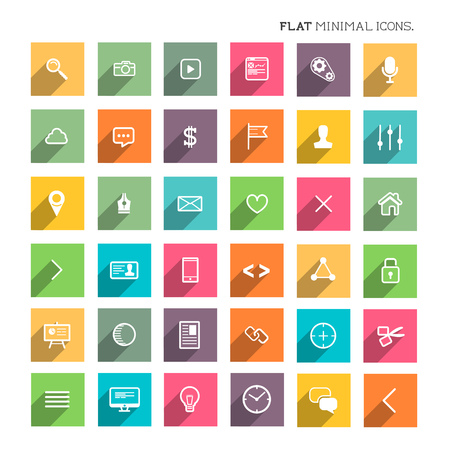 Modern Flat Minimal Icons - SEO and development flat icon collection. Stock Vector - 26039560