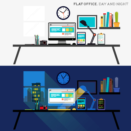 day night: Office Day and Night. Flat design desk layout Illustration