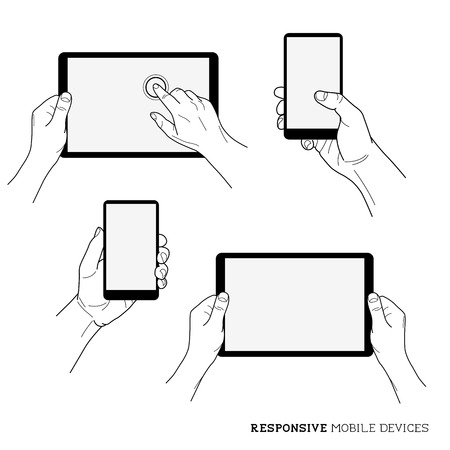 Responsive Mobile Devices - Hands holding mobile technology Stock Vector - 26039589
