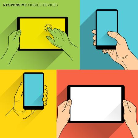 Responsive Mobile Devices - Mani in possesso di tecnologia mobile Vettoriali