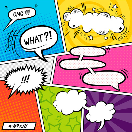Bright Comic book Elements with speech bubbles illustration. Иллюстрация