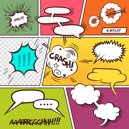 Retro Comic Speech Bubbles illustration. Vector