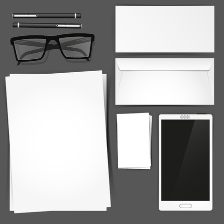 Stationary Set Mockup, vector illustration stationary set. Vector