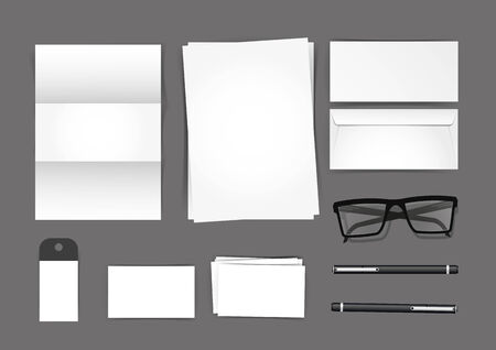 stationary set: Stationary Set Mockup, vector illustration stationary set.