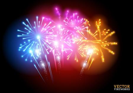 fuegos artificiales: Fuegos artificiales brillante pantalla ilustración vectorial.