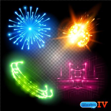 efectos especiales: Vector Efectos especiales de la serie 4. Cada objeto agrupado y en capas. Vectores