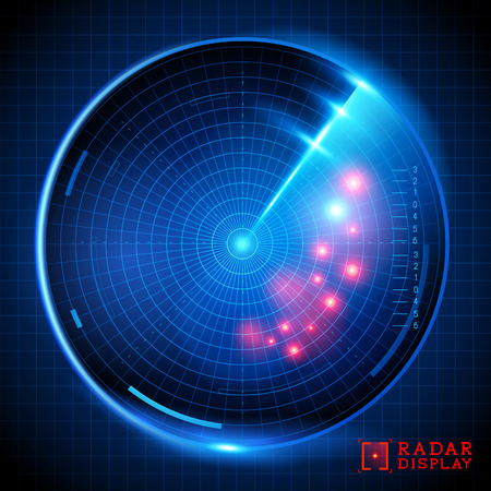A blue vector radar display. Vector illustration. Illustration
