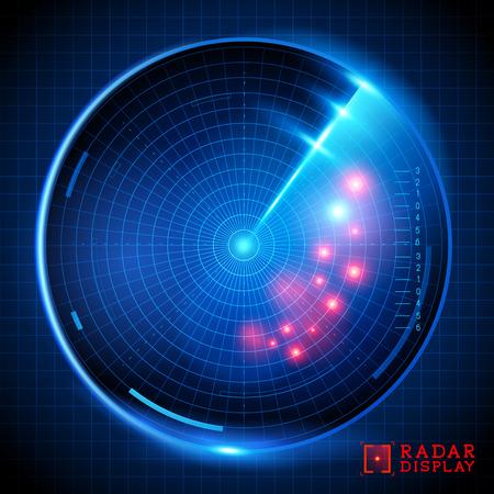A blue vector radar display. Vector illustration. Illustration