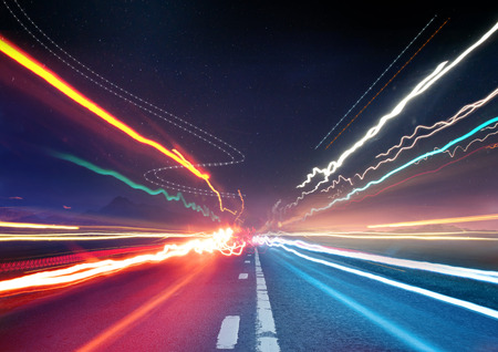 long exposure: Urban Traffic Light Trails - Light trails from transport - rush hour. Stock Photo