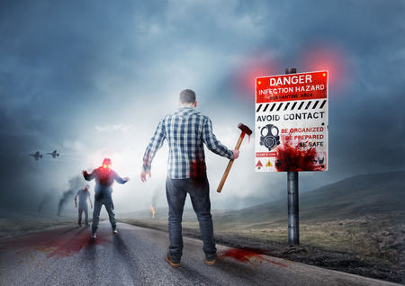 Zombie breakout - Contaminated Land with warning sign. photo