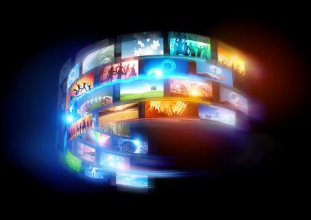 스마트 세계. 연결 미디어와 전 세계에 걸쳐 방송 행사. 스톡 콘텐츠