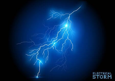 電気の嵐 - ベクトル稲妻。  イラスト・ベクター素材