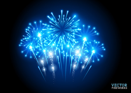 Large Fireworks Display - vector illustration. 向量圖像