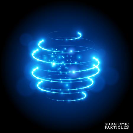 Partículas subatómicas - ilustración vectorial.
