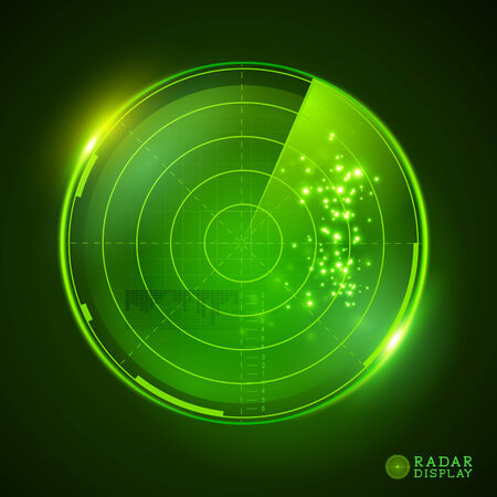 rada: A green vector radar display. Vector illustration.