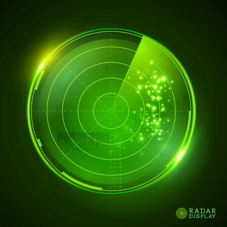 Una pantalla de radar del vector verde. Ilustración del vector.
