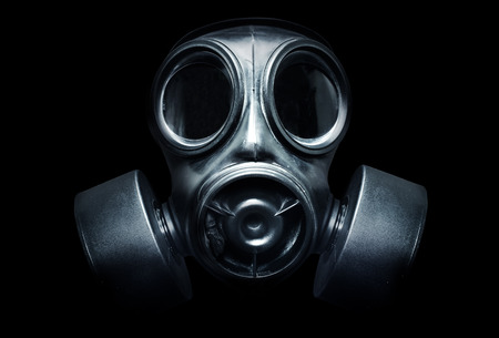 gas mask: A black military gas mask for protection Stock Photo
