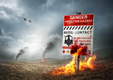 ゾンビのブレイク アウト警告記号で汚染された土地。