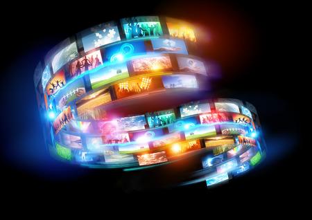 스마트 미디어 세계. 연결 미디어와 전 세계에 걸쳐 방송 행사.