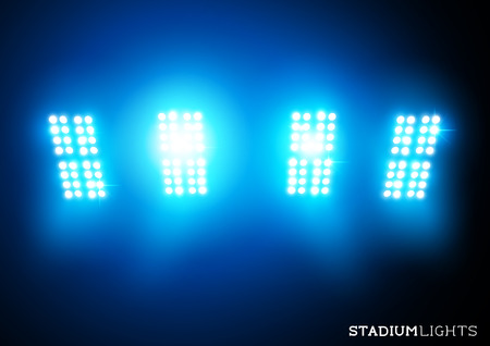 iluminacion: Luces del estadio - Proyectores - ilustración vectorial.