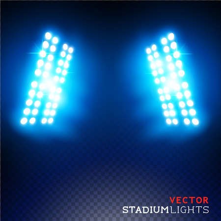 night light: Stadium lights - Floodlights - Vector illustration.
