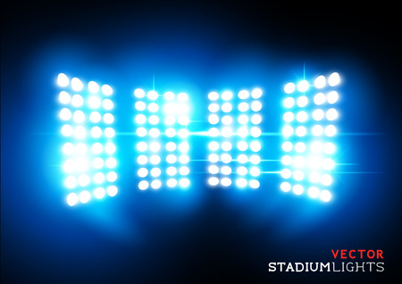 light show: Stadium lights - Floodlights - Vector illustration.