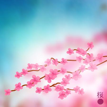 cherry blossom tree: Cherry Blossom Tree Branch Vector illustration.