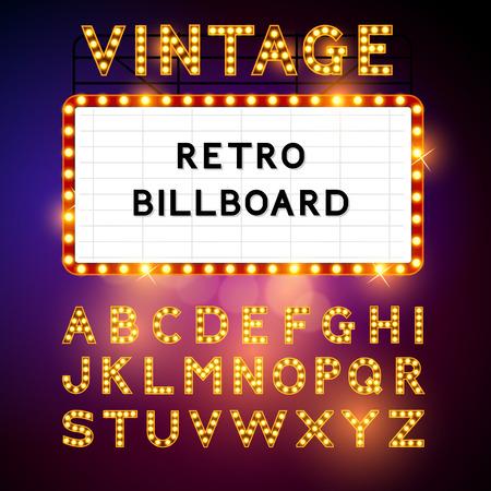 letrero: Retro Billboard espera de su mensaje! También incluye glamorosa ilustración vectorial Vector alphabet