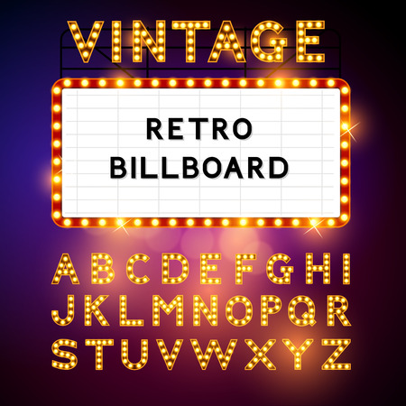 Retro Billboard waiting for your message! Also includes glamorous vector alphabet Vector illustration Çizim