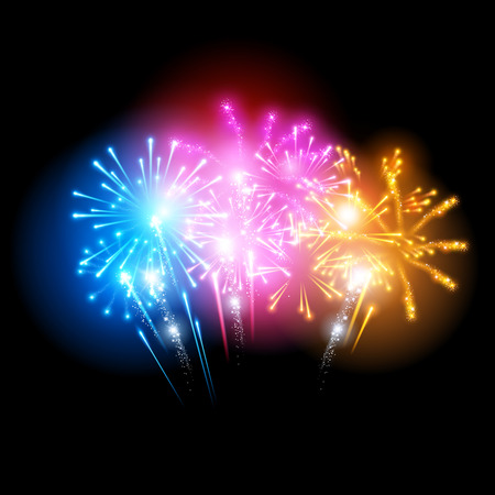 Bright Fireworks Display Vector illustration. Vector